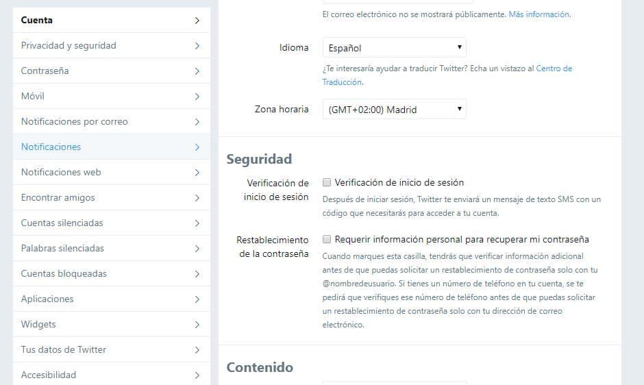 Configurar cuenta de Twitter desde móvil